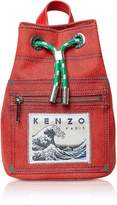 Kenzo Mini Red Denim Kanagawa Wave Rucksack