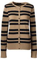 Classic Women's Petite Supima Stripe Cardigan Sweater-Vicuna Heather/Black Stripe