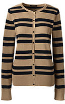 Lands' End Women's Petite Supima Stripe Cardigan Sweater-Vicuna Heather/Black Stripe