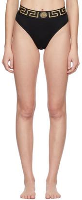 Versace Underwear Black Greca Border High Leg Briefs