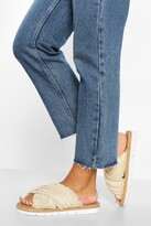 Thumbnail for your product : boohoo Wide Fit Canvas Cross Strap Espadrille Slider