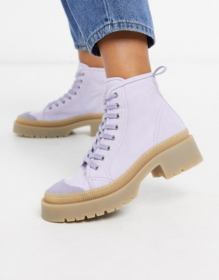 And other stories & vegan canvas lace-up biker boots in lilac
