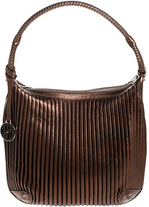 Giorgio Armani Metallic Brown Pleated Leather Hobo