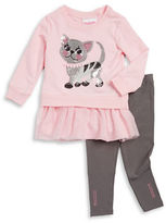 Flapdoodles Girls 2-6x Sequined Cat Long-Sleeve Tunic and Leggings Set