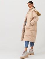 boohoo Panelled Faux Fur Hood Padded Coat - Caramel