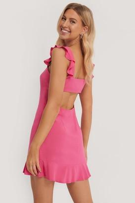 Pamela X NA-KD Frill Detail Mini Dress
