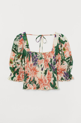 H&M Puff-sleeved smocked blouse