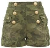 Balmain High-rise Camouflage Cotton-bend Shorts - Womens - Khaki
