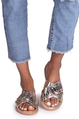 Linzi Vegas Gold Slip On Sliders With Crossover Front Straps & Giant Buckle Detail