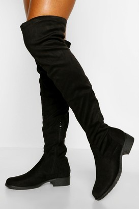 boohoo Flat Over The Knee Boots