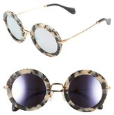Miu Miu Women's 'Noir' 49Mm Round Sunglasses - Dark Havana