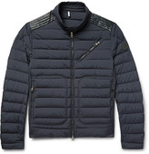 Moncler Geant Leather-trimmed Quilted Stretch-shell Down Jacket - Midnight blue
