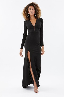 Coast Plunge Front Long Sleeve Maxi Dress