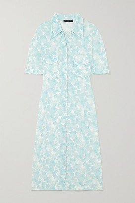 Kwaidan Editions Floral-print Stretch-jersey Midi Shirt Dress - Light blue
