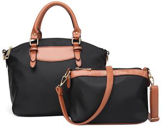 Ella & Elly Women's Crossbodies Black - Black & Tan Curved Satchel & Crossbody Bag