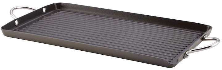 """Rachael Ray 18"""" x 10"""" Nonstick Hard-Anodized Double-Burner Grill"""
