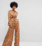 Horrockses Tie Front Jumpsuit With Fluted Sleeve In Snow Drop Print