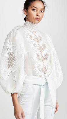 Zimmermann Brightside Knot Embroidered Blouse