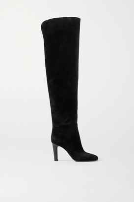 Saint Laurent Blu Suede Over-the-knee Boots - Black