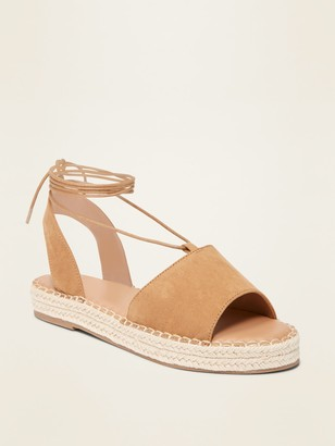 Old Navy Faux-Suede Lace-Up Espadrille Flatform Sandals for Women
