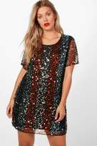 boohoo Plus Hollie Star Sequin Embellished Shift Dress black