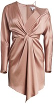 Cushnie Knotted Off-The-Shoulder Silk Mini Dress