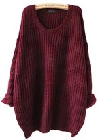 Aoibox Womens Basic Long Sleeve Oversized Knitted Crewneck Pullovers Sweaters
