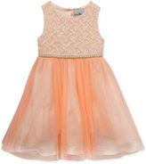 Rare Editions Embellished Basket Weave & Tulle Dress, Toddler & Little Girls (2T-6X)