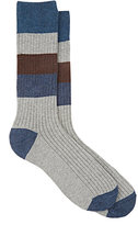 Barneys New York MEN'S COLORBLOCKED COTTON MID-CALF SOCKS-GREY