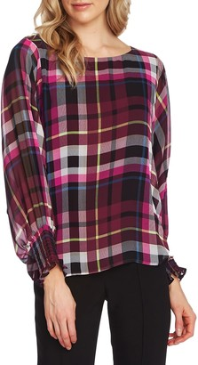 Vince Camuto Plaid Batwing Sleeve Blouse
