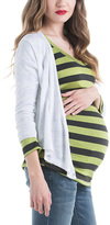 White Maternity/Nursing Crop Open Cardigan
