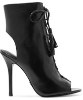 Michael Kors Bolton Cutout Glossed-Leather Ankle Boots