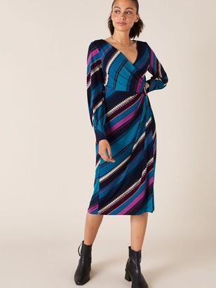 Monsoon Stripe Print Wrap JerseyMidi Dress - Teal