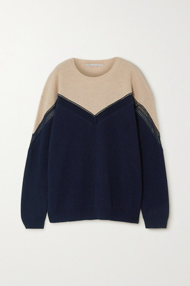 Stella McCartney Net Sustain Two-tone Paneled Ribbed Cashmere And Wool-blend Sweater - Navy