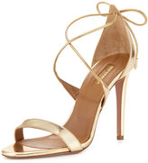 Aquazzura Linda Crisscross Tie-Back Metallic Sandal, Light Gold