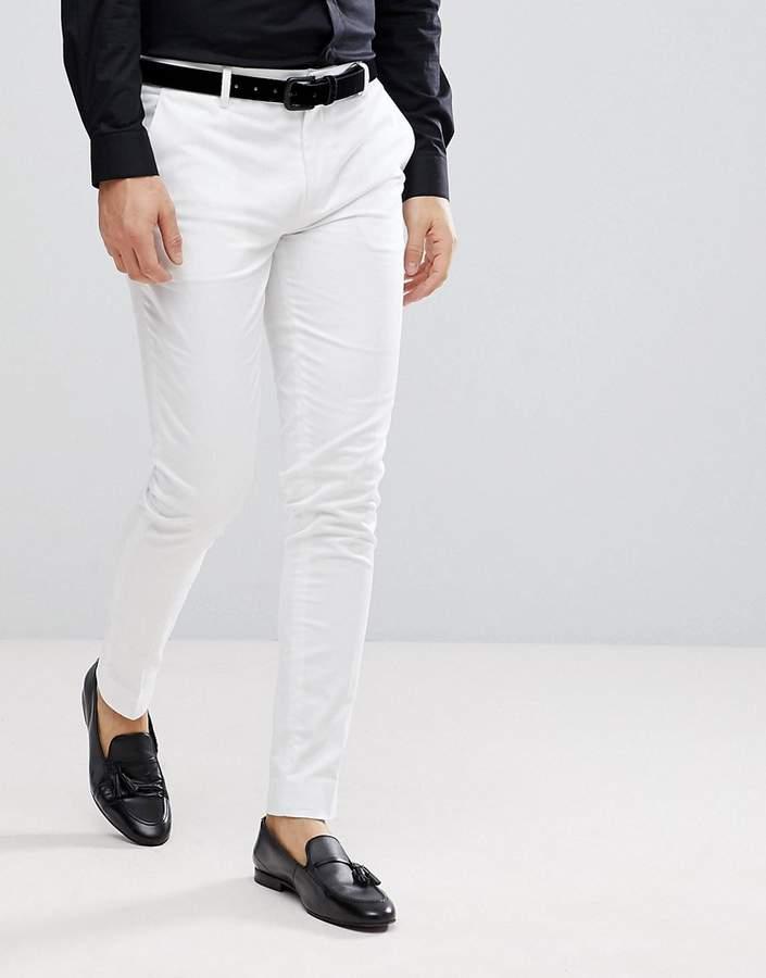 Asos Super Skinny Smart Pants In White Cotton Sateen