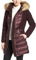 1 Madison Women's Mixed Media Faux Fur Trim Hooded Down Coat