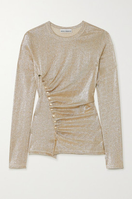 Paco Rabanne Ruched Stretch-lurex Top - Gold