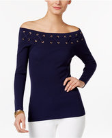 MICHAEL Michael Kors Off-the-Shoulder Lace-Up Sweater