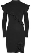 Christopher Kane Ruffled Ribbed Wool And Silk-Blend Mini Dress