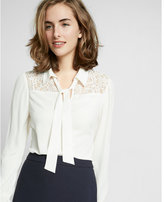 Express tie neck lace shoulder blouse