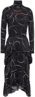 Balenciaga Layered Printed Satin-jacquard And Stretch-jersey Turtleneck Midi Dress
