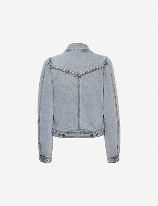 Gestuz Atica puffed-shoulder stretch-denim jacket