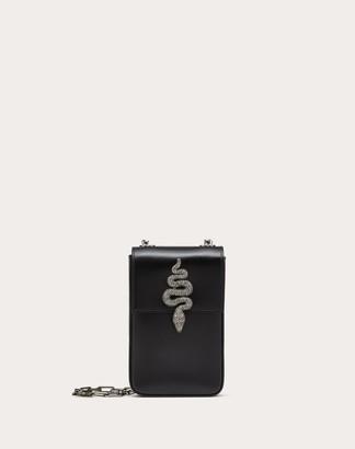 Valentino Mini Vertical Bag In Glossy Calfskin With Serpent Accessory Women Black 100% Pelle Di Vitello - Bos Taurus OneSize