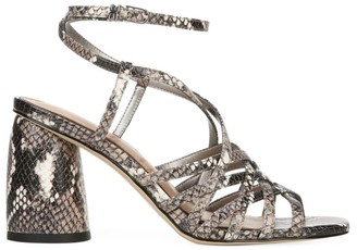 Sam Edelman Daffodil Ankle-Wrap Snakeskin-Embossed Leather Sandals