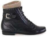 Opening Ceremony Leather boots with knit trim