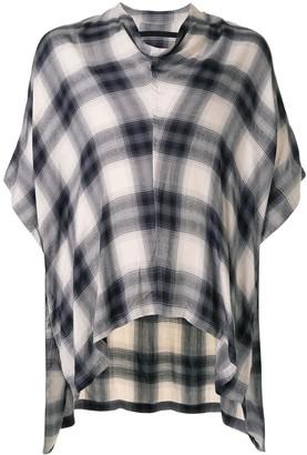 Julius Check Print Draped Shirt