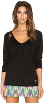 Trina Turk Draped Jersey Dolman Long Sleeve Top