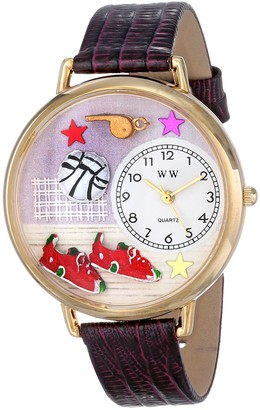 Whimsical Watches Volleyball Purple Leather and Goldtone Unisex Quartz Watch with White Dial Analogue Display and Multicolour Leather Strap G-0820013