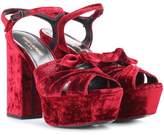 Saint Laurent Farrah 80 velvet plateau sandals